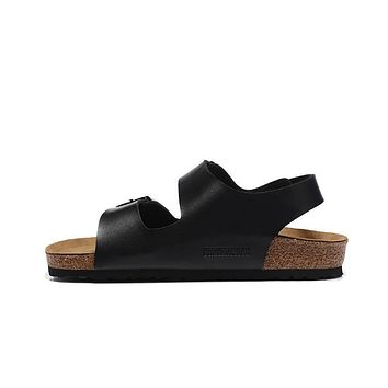 2017 fashion Birkenstock Summer Fashion Leather Cork Flats Beach Lovers Slippers Casua