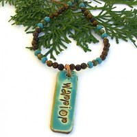Warrior Pendant Necklace, Golden Tigers Eye Gemstones Turquoise Glass Copper Artisan Jewelry