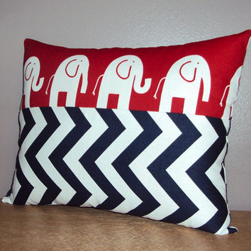 16x12 Decorative Nursery Lumbar Pillow Cover - Red Elephant and Navy Blue Chevron - Price Includes Monogramming