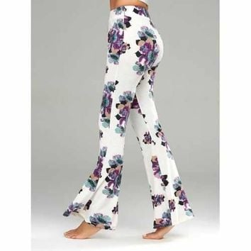 Casual Floral Print Flare Pants - White M