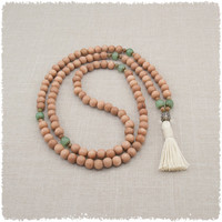 108 Mala Beads Necklace - Meditation Necklace in Rosewood and Green Aventurine - Vegan Friendly - Item # 940