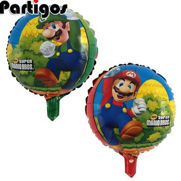 Super Mario party nes switch 50pcs  Bros Brothers Balloons 18 inch Baby Shower Toy Mylar balloon Kid Toys Children's Day Party Decorations AT_80_8