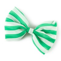 St. Patrick's Day Green and White Striped Bow Hair Clip | Claire's
