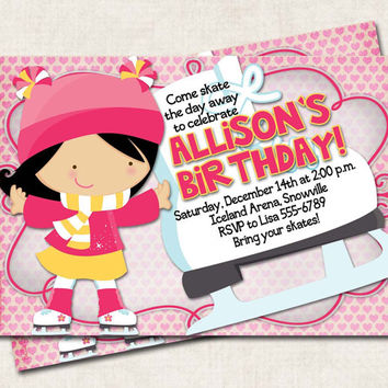 Skating Birthday Party Invitation, printable, personalized, pnik yellow (Digital File)
