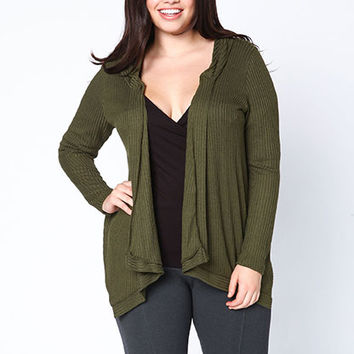 PLUS SIZE HOODED RIBBED KNIT CARDIGAN