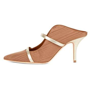 Malone Souliers Maureen Rope Moire Platino Mules