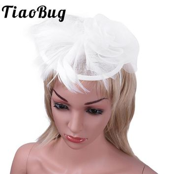 Tiaobug Newest Wedding Hat Veils Flowers Bridal Hair Accessories Light Tulle Wedding Hats for Brides Derby Hair Clip Headwear