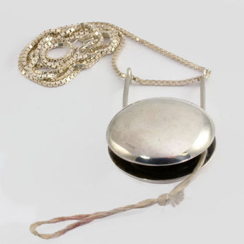 "Vintage YoYo Novelty Necklace  - Sterling Silver 27"" Chain - Unusual Working Yoyo in a Necklace"