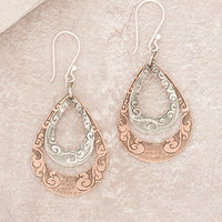 Engraved Himalayan Teardrop Earrings