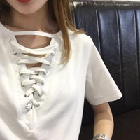 3 color summer sexy tops deep V-neck solid color strap t-shirt womens tee shirt -0412