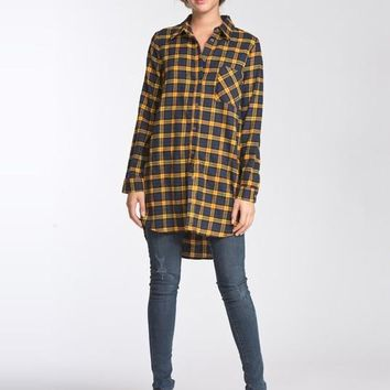 Oversized Flannel Top - Mustard