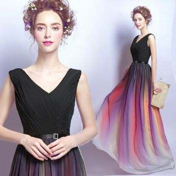 Gradient Chiffon Evening Dress Long Style Tube Top Party Moderator V Collar Dresser Dress Up