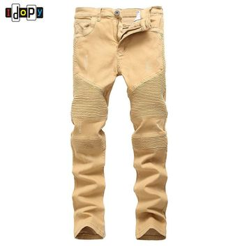 High Street Men`s Biker Jeans Khaki Ripped Scratched Designer Brand Motorcycle Super Skinny Distressed Denim Pants For Hipster