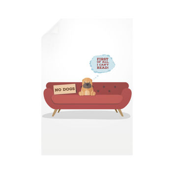 Dogs Can't Read. Duh! Vertical Wall Decals