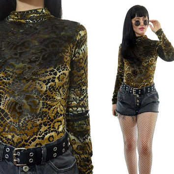 vintage 90s sheer velvet burnout bodysuit one piece gold soft grunge bodycon mock neck jumper XSmall