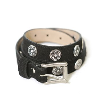 Brave Leather Ltd. Bellsie Suede Belt with Silver Embellishments in Black | Boutique To You