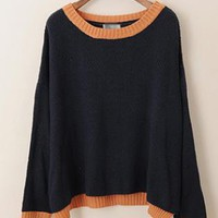 Sweet Loose Bat Sleeve Sweater Black  S005159