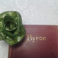 Green Glitter Ribbon Large Silver Bookmark