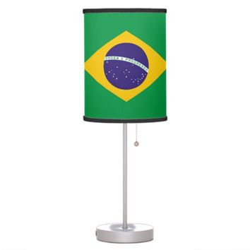 Patriotic table lamp with Flag of Brazil