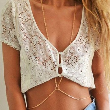 Day-First™ New Fashion Beach Circle Multilayer Summer Body Chain Simple Necklace Jewelry Alloy Gold Plated Body Necklaces For Wo
