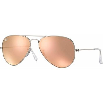 Ray-Ban Aviator Sunglasses RB3025-019/Z2 Silver/Rose Gold 55mm