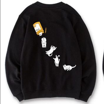 RipNdip Tide brand low-cat middle finger cat white hat-free sweater Black