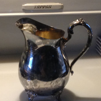 Vintage Silver Plated Water Pitcher Ice Lip Footed Rich Patina Heavy Art Nouveau Floral Embossing