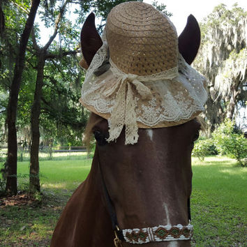 Straw and Lace Sun Hat for Horses - Old-fashioned Straw Hat for Equine - Horse Costume