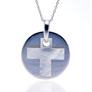 cross white mother of pearl solid 925 sterling silver pendant necklace  &  men fine