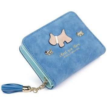 KUDIAN BEAR PU Leather Women Wallet Zipper Ladies  Purse Cute Dog Cartoon Printing carteira feminina Card Holder--01BIC076 PM49