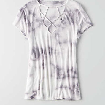 AEO Soft & Sexy Cage Front T-Shirt, Gray