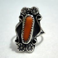 On Sale Navajo Roses Sterling Silver Red Coral Branch Vintage Ring Size 5.5