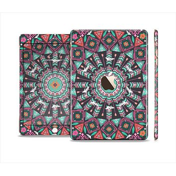 The Mirrored Coral and Colored Vector Aztec Pattern Full Body Skin Set for the Apple iPad Mini 3