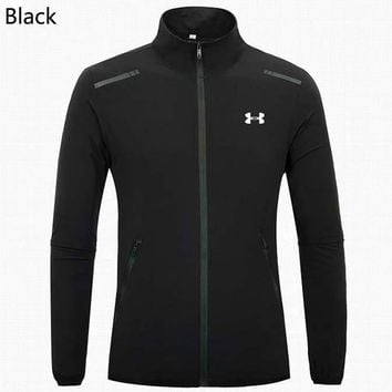 Under Armour Autumn and winter new fashion versatile lightweight casual sports men's stand collar jacket Black