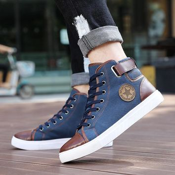 New Arrive Men Causal Shoes Autumn Winter Front Lace-Up Leather Ankle Boots Shoes Man Casual High Top Canvas Men MC004--2