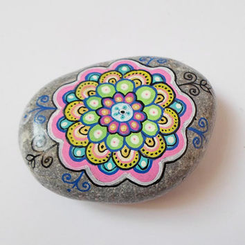 Mandala painting Stone Art, Spiritual Zen art, Handpainted rock pebbles art,  Yoga gift, Boho yoga home decor, Colorful mandala art stones