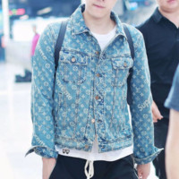 "Louis Vuitton""LV x Supreme ''Fashion Distressed Denim Cardigan Jacket Coat"