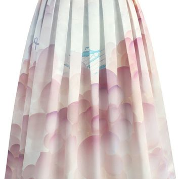 Balloon My Day Printed Midi Skirt
