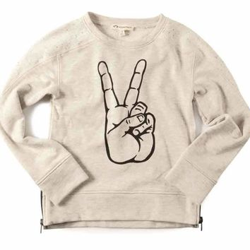 Appaman Peace Contra Sweatshirt in Oatmeal Heather