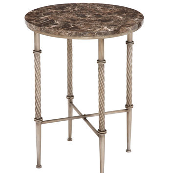 Attractive Styled Metal Faux Marble Accent Table