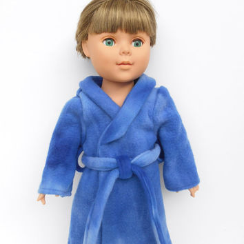 Doll Clothes, Doll Robe, 18 Inch Boy or Girl Doll Robe, Varigated Royal Blue Bathrobe, Spa Robe, Made to Order
