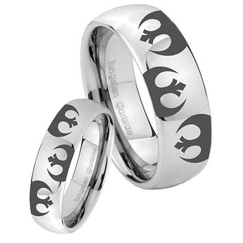 His Her Classic Mirror Dome Star Wars Rebel Alliance Tungsten Carbide Silver Rings Set