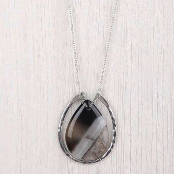 Large Stone In Horseshoe Necklace