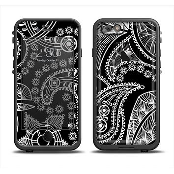 The Black and White Paisley Pattern v14 Apple iPhone 6 LifeProof Fre Case Skin Set