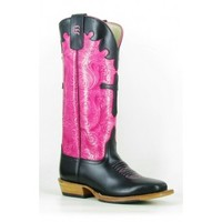 Anderson Bean Cowboy Boots Black Dynatan Pink Embossed Top Cross Overlay Kids Cowboy Boots
