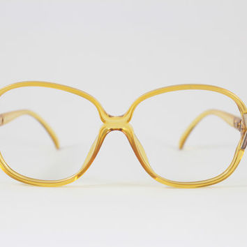 Vintage 1980s Christian Dior Translucent Yellow Glitter Rounded Eyeglass Frame