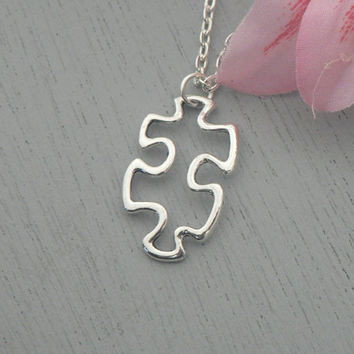 Missing Puzzle Piece Necklace Autism Awareness Love Friendship Jewelry Simple Everyday Long Necklace