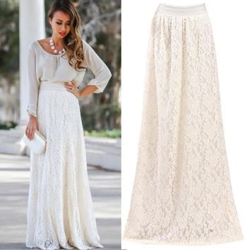 Womens Lace Layered Hitched Maxi Skirt A Line Gypsy Boho Long Asymmetric Summer