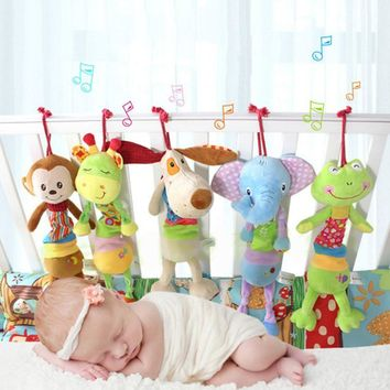 21*41cm  Animal High Quality Musical Cute Rattles Bed Crib Stroller Kids Stuffed Doll Hand Bell Toy With Music Player D014