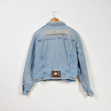 80s HARLEY DAVIDSON USA Original Trucker Jacket / Motor Cycles Denim Outerwear / Size L